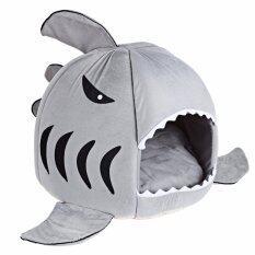 ราคา Shark Bed For Small Cat Dog Cave Cozy Bed Removable Cushion Waterproof Bottom M Grey Intl ออนไลน์