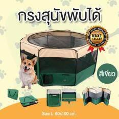 โปรโมชั่น คอกหมาพับได้ คอกสุนัขพับได้ กรงสุนัขพับได้ กรงหมาพับได้ และกรงแมวพับได้ กางและพับเก็บได้ง่าย สีเขียว Size L ขนาด 60X100 Cm Easymall ใหม่ล่าสุด