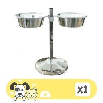 ชุดให้อาหาร และน้ำ ชามสแตนเลส Size M เส้นผ่าศูนย์กลาง 28 ซม. ปรับระดับได้ สำหรับสุนัขพันธุ์กลางและพันธุ์ใหญ่