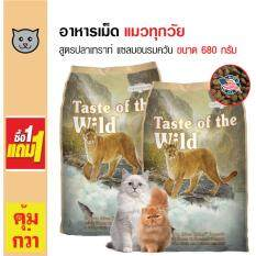 Taste Of The Wild อาหารแมว สูตรเนื้อปลาเทราท์และปลาแซลมอนรมควัน สำหรับแมวทุกวัย ขนาด 680 กรัม (1 แถม 1)