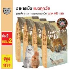 Taste Of The Wild อาหารแมว สูตรเนื้อปลาเทราท์และปลาแซลมอนรมควัน บำรุงผิวหนังและขน สำหรับแมวทุกวัย ทุกสายพันธุ์ ขนาด 680 กรัม (2 แถม 2)