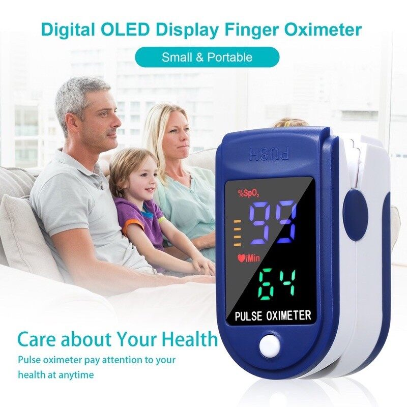 เครื่องวัดออกซิเจนในเลือด วัดออกซิเจน วัดชีพจร วัดอัตราการเต้นหัวใจ หน้าจอดิจิตอลfingertip Pulse Oximeter เครื่องวัดออกซิเจนที่ปลายนิ้ว Blood Oxygen.
