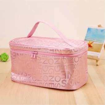 โปรโมชั่น FGN Letter Makeup Bag ความจุขนาดใหญ่ กระเป๋าใส่เครื่องสำอาง(สีชมพู)