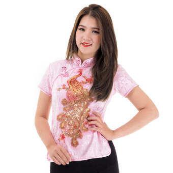 เสื้อตรุษจีนหญิง เสื้อไหมจีนผู้หญิง เสื้อจีน เสื้อกี่เพ้า เสื้อสาวจีน (สีชมพู) Chinese Blouse, Chinese style blouse