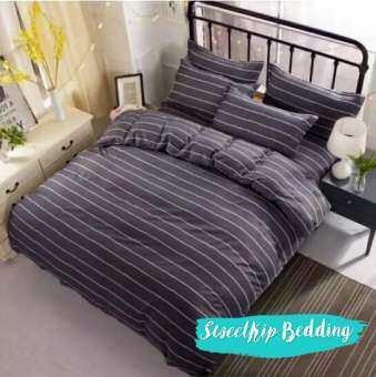 Sweet Kip Bedding ผ้าปูที่นอนขนาด 3.5ฟุต, 5ฟุต, 6ฟุต พร้อมผ้านวมขนาด 180 x 220 เซ็นติเมตร รวม 6 ชิ้น ลายขวางสีดำ