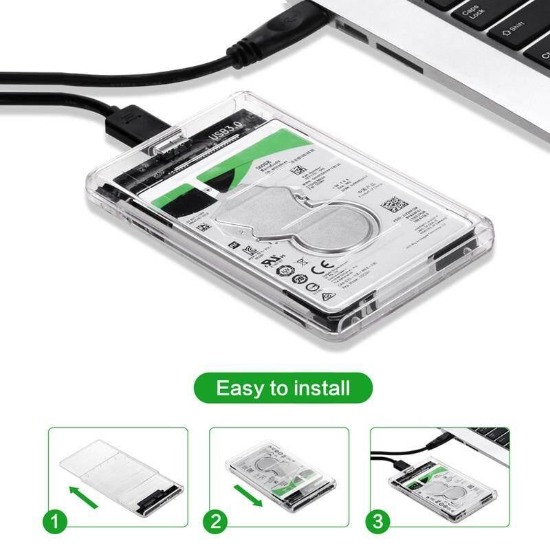 2.5 Sata 3.0 To Usb 3.0 Hard Drive Disk Box Hdd External Enclosure Sata Hdd And Ssd -Transparent แบบใส.
