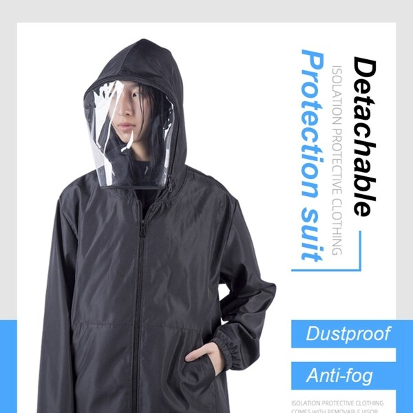 REALVISION Dust Proof Washable Isolation With Hat Face Shield Removable Outdoor Hiking Security Protection Jacket Protective Suit