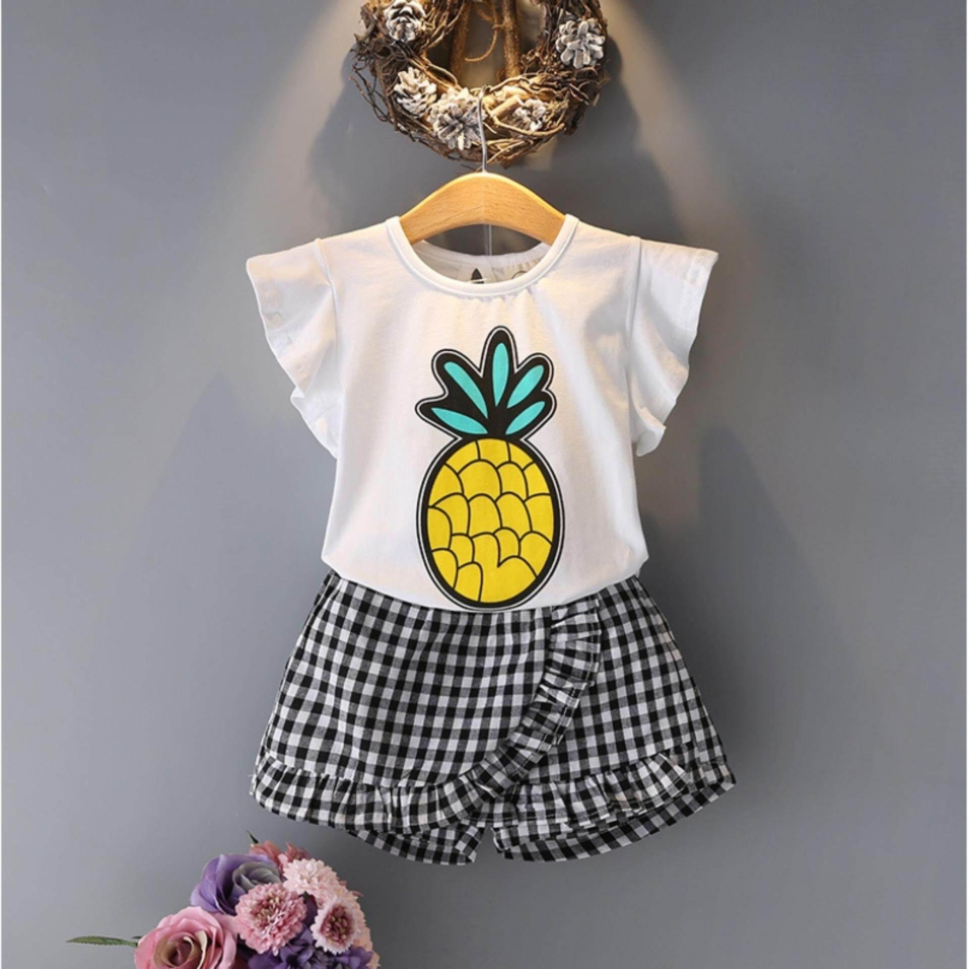เสื้อยืดลายสับปะรด+กางเกงกระโปรง Kids Clothes ผ้านุ่มใส่สบาย ไซส์ 70-140 ซม./6 เดือน-10 ปี By Pae Kids Shop.