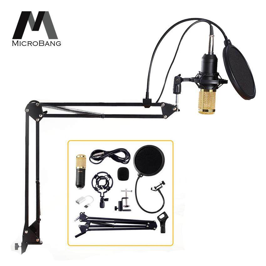 Microbang Condenser Microphone Stand Broadcasting & Recording Microphone Set Stand With Adjustable Mic Suspension Scissor Arm Shock Mount Clamp And Double-Layer Pop Filter For Studio Recording & Broadcasting Computer Pc Microphone Kit By Digital Times Square.