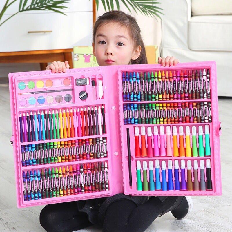 สีเทียน พาเลทชุดระบายสี ชุดระบายสี 150 ชิ้น อุปกรณ์ระบายสี วาดภาพระบายส อุปกรณ์ระบายส.