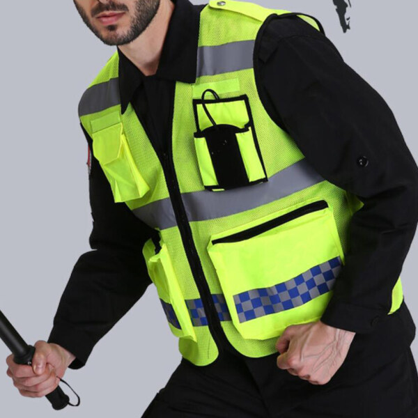 Perfk Reflective High Visibility Safety Vest, Hi Visibility Strip, Men & Women, Work, Cycling, Runner, Surveyor, Crossing Guard, Construction, Neon Yellow D