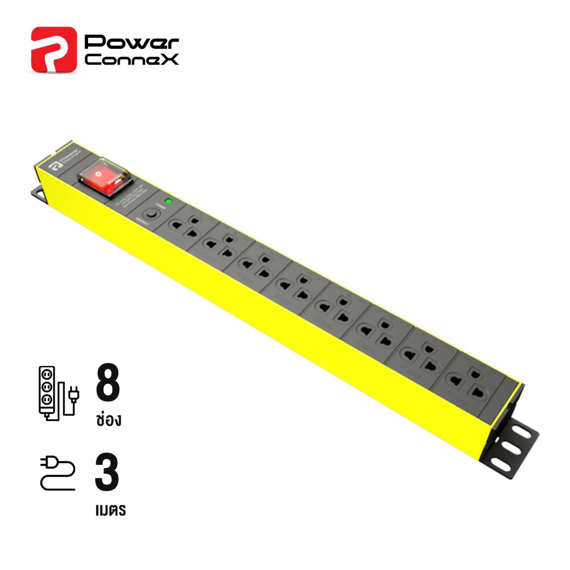 Powerconnex (yellow) 8xtis Outlets, With Surge Protection, Master Switch & Overload Protection (pcx-Pxc5phtts-Ts08).