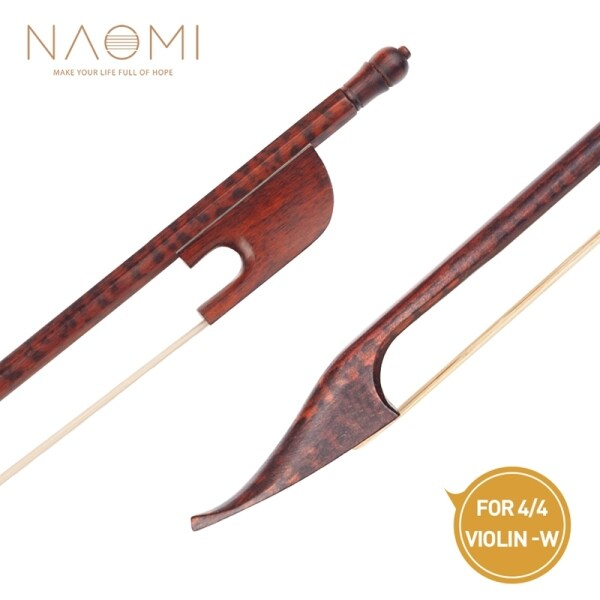 NAOMI Professional Violin/Fiddle Bow 4/4 Bow Baroque Style Frog White Mongolia Horsehair Well
