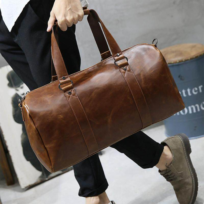 aa055b33f647 Crazy Horse Leather Business Tote Bag Splicing Color Retro Leisure Shoulder  Bag for Cool Men Fashion