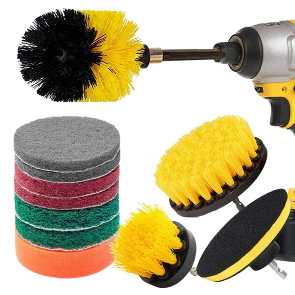 Bảng giá 12 Piece Drill Brush Scrub Pads Power Scrubber Brush with Extended Long Attachment All Purpose-Cleaner Scrubbing Cordless Drill for Cleaning Pool Tile Phong Vũ