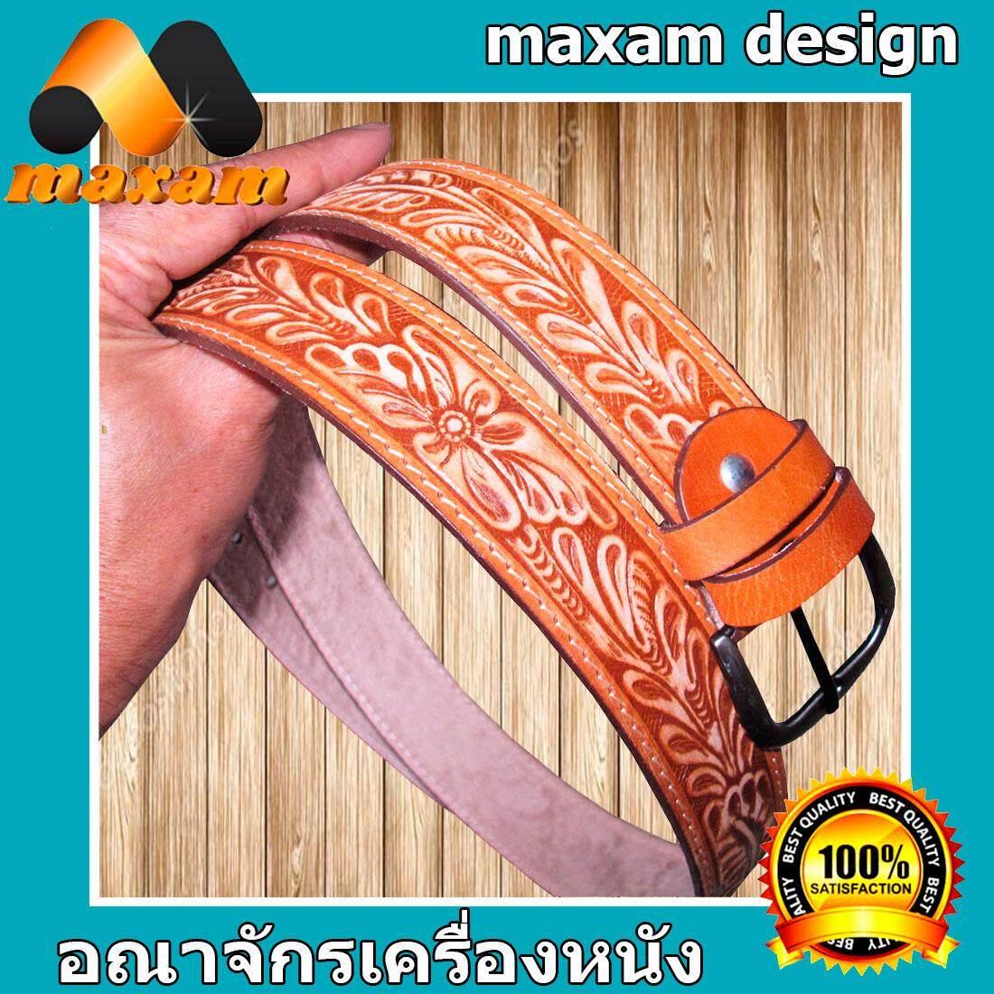maxam design    **Belt-Buckle** Floral Long CowHide Belt - Buckle เข็มขัดหนังวัวอย่างแท้ๆ 100 %พร้อมสายเข็มขัดมีลายในตัวสวยมากมาก หัวเข็มขัดเป็นนิกเกิล.     maxam design