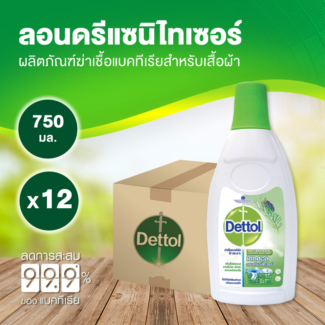 เดทตอล ลอนดรี แซนิไทเซอร์ 750 มล.x 12 Dettol Laundry Sanitiser 750 ml. x 12