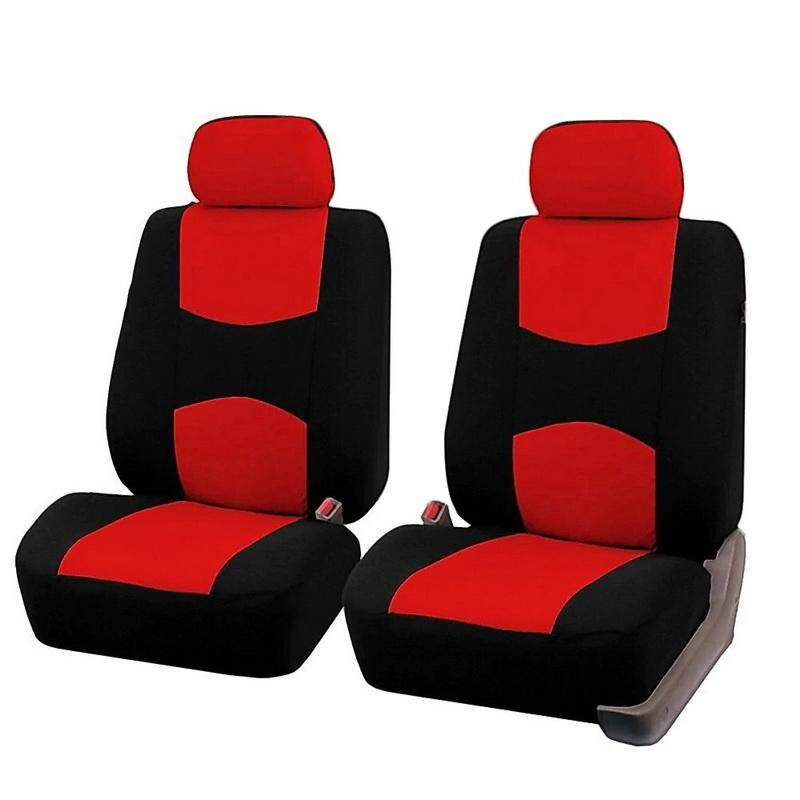 2 RED FRONT CAR SEAT COVERS WITH BARS