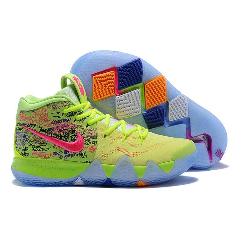 Nike_Kyrie 4 Irving 4th Generasi Confetti Pria Sepatu Basket, Redam Kejut Tahan Aus Sampul Yin-Yang Sepatu