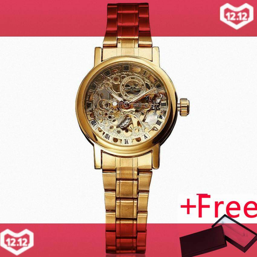 WINNER Women Golden Automatic Mechanical Wrist Watch Stainless-steel Band Formal Skeleton Watch Retro Dial Rome Fashion +BOX 034