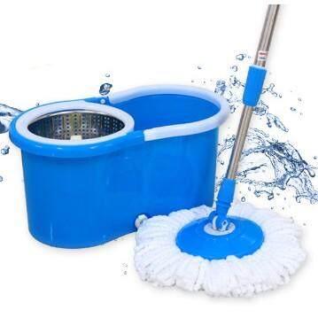 ไม้ถูพื้น ไม้ถูพื้น ถังปั่น ไม้ถูพื้นแบบรีดน้ํา  Spin Mop ชุดไม้ถูพื้น - สีฟ้า โปรโมชั่น ราคาถูก.
