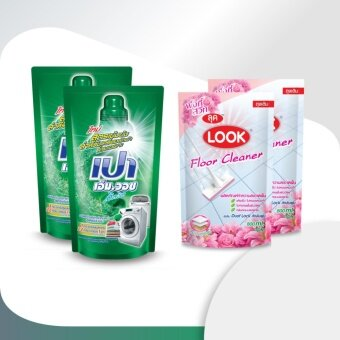 เปา เอ็ม วอช ลิควิด ชนิดถุงเติม ขนาด 800 มล. 2 ถุง + ผลิตภัณฑ์ทำความสะอาดพื้นลุค กลิ่นบลูโอเชี่ยน(สีชมพู) ชนิดถุงเติม 800 มล. 2 ถุง