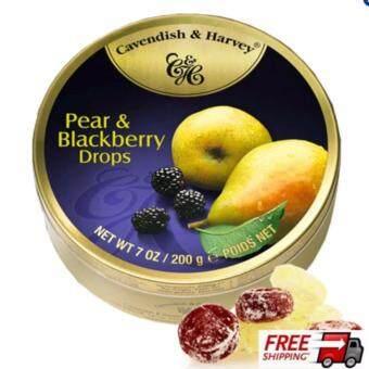 CavendishHarvey PearBlackberry Drops 7 OZ/ 200G ลูกอมรสเบอรี่ดำและลูกแพร์ ขนาด 200 กรัม 1 กระปุก