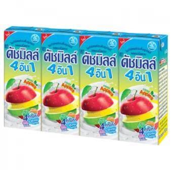 DUTCH MILL ดัชมิลล์ โยเกิร์ตพร้อมดื่ม UHT 4 อิน 1 ไมโครแอคทีฟ รสแอปเปิ้ลรวม 180 มล. แพ็ค 4 กล่อง