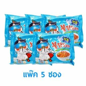 samyang Buldak ICE มาม่าเกาหลี ไก่เผ็ด สูตรเย็น ชนิดแห้ง แพ็ค5ซอง