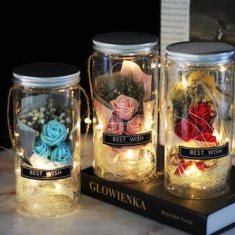 ILT ดอกกุหลาบจำลอง ของขวัญวันวาเลนไทน์ ของขวัญปัจฉิม ของขวัญวันเกิด วันแต่งวัน โคมไฟกลางคืน ช่อดอกกุหลาบ โคมไฟLED ดอกไม้สบู่ ขวดอวยพ
