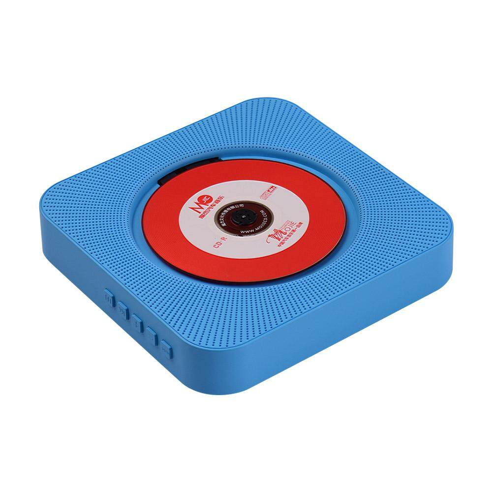 Portable Wall Mounted CD Player Music Amplifier Audio Boombox with Remote Control Support BT/ USB/ FM Modes Blue EU Plug