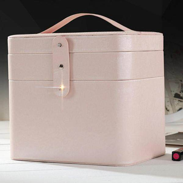 Makeup Organizer Cosmetic Storage Box PU Leather Container Multi-Function Desktop Storage Portable Cosmetic Case with Mirror Naked Pink