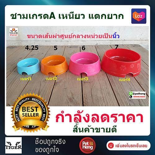 Petheng Pet Bowl ชามสุนัข ชามแมว ชามใส่อาหารและน้ำ พลาสติก สำหรับสุนัข แมว กระต่าย นก  คละสี