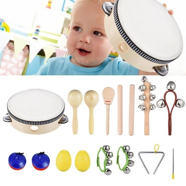 10pcs Musical Instruments Percussion Toy Rhythm Band Set Including Tambourine Maracas Triangle Castanets Wrist Bell for Kids Children Baby Malaysia