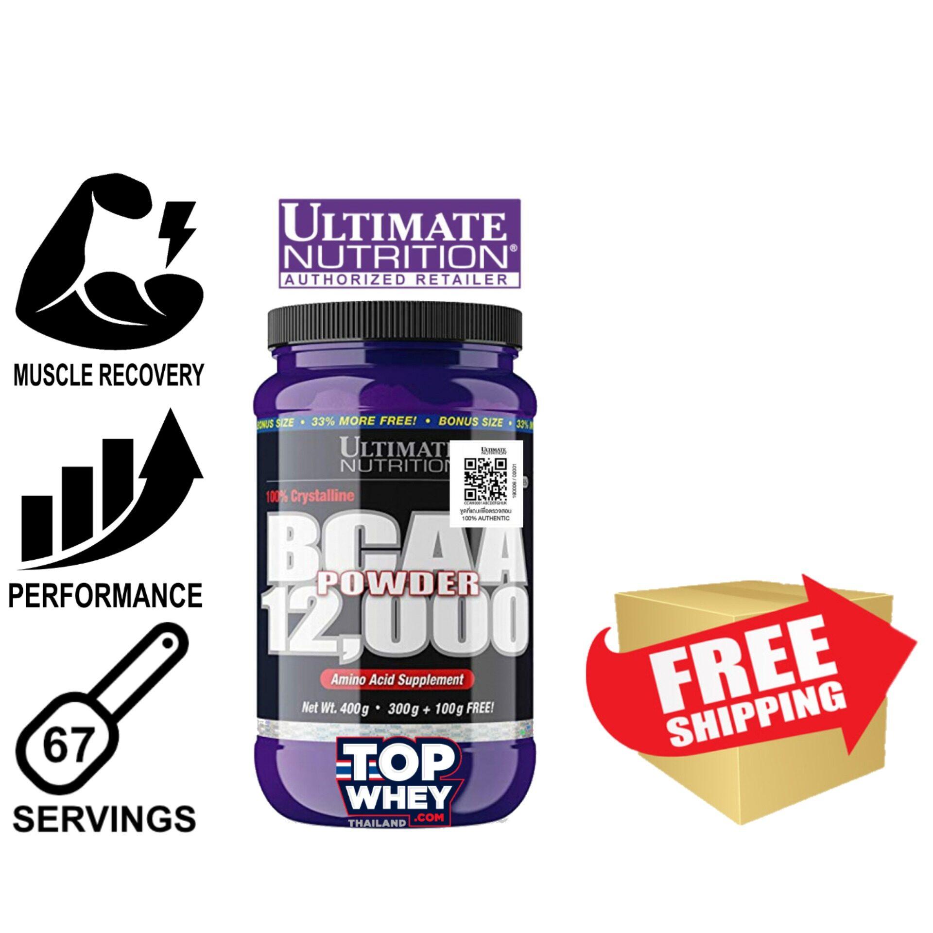Ultimate Nutrition BCAA 12000 Powder 67 Servings 400g – Unflavored – บีซีเอเอ ซ่อมแซมกล้ามเนื้อ ยับยั้งการสลายกล้ามเนื้อ มีส่วนสำคัญในการสร้างกล้ามเนื้อ เพิ่มประสิทธิภาพในการออกกำลังกาย