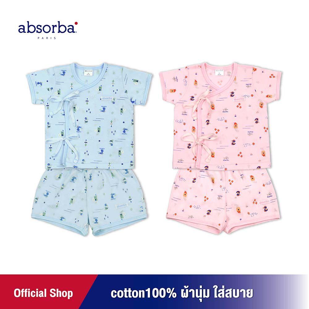 แนะนำ absorba (แอ็บซอร์บา) ชุดเสื้อป้ายหรือ เสื้อผูกหน้าแขนสั้นเด็กอ่อน คอลเลคชั่น Fairly tale (มีให้เลือก 2 สี ฟ้า,ชมพู)สำหรับเด็กแรกเกิด - 3 เดือน-R9W6003
