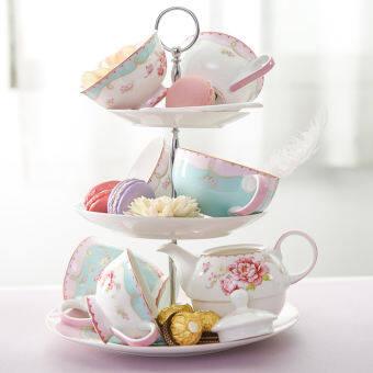 อังกฤษออกแบบโดยผู้ชำนาญ-Rose เครื่องเคลือบจีนซีรีส์ชายามบ่ายถ้วยชา | แก้วและจานของกาแฟ | จานสำหรับใส่ของหวาน