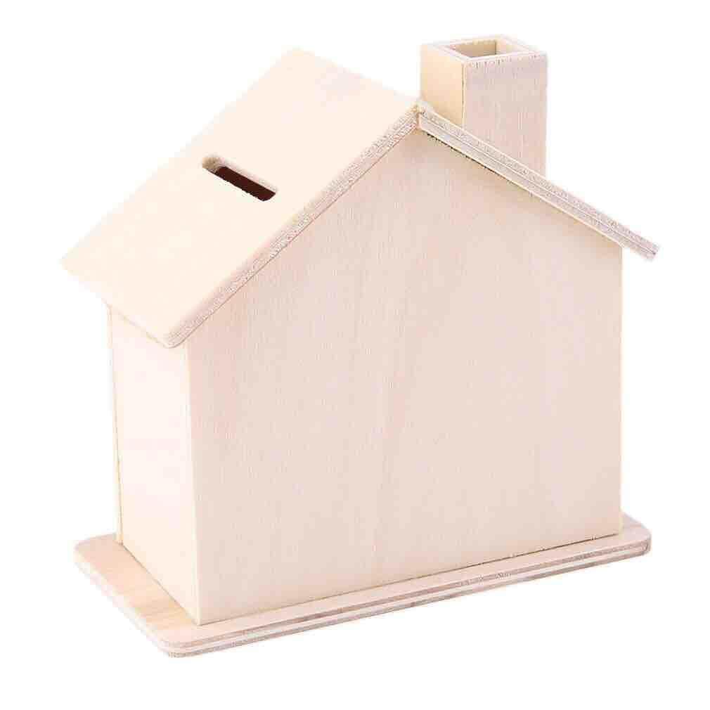 บ้านไม้ กระปุกออมสินไม้ ระบายสีเด็ก เสริมพัฒนาการ.