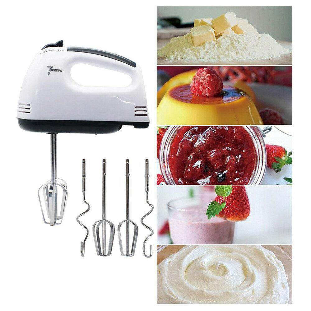 เครื่องผสมอาหาร เครื่องตีไข่ เครื่องตีแป้ง เอนกประสงค์ ปรับความเร็ว 7 ระดับ White Food Mixer 7 Speeds 180W