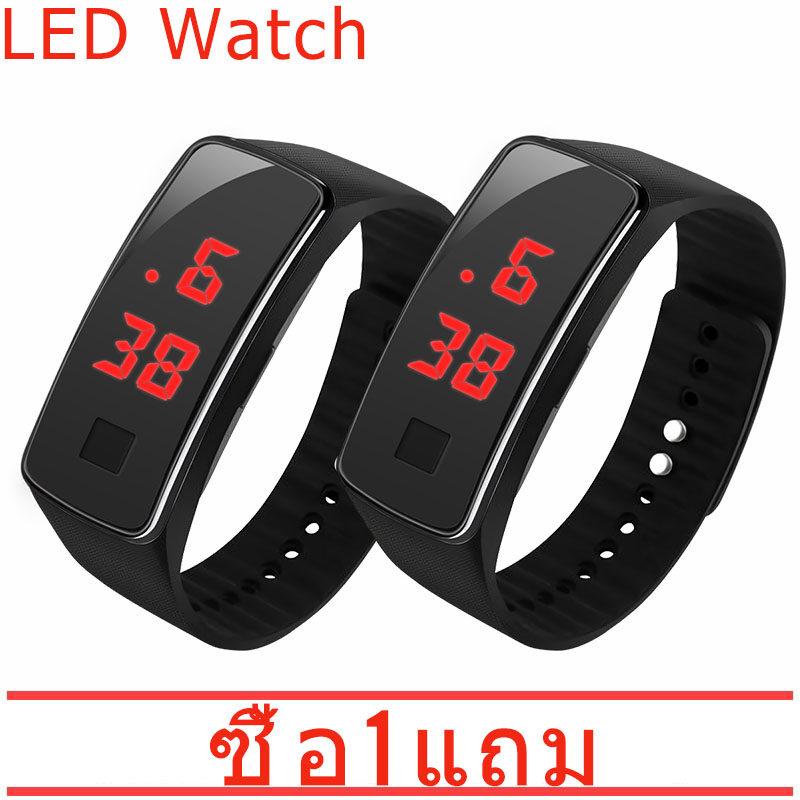 【ซื้อ 1 แถม 1】นาฬิกาสปอร์ตข้อมือ Led ดิจิตอล.