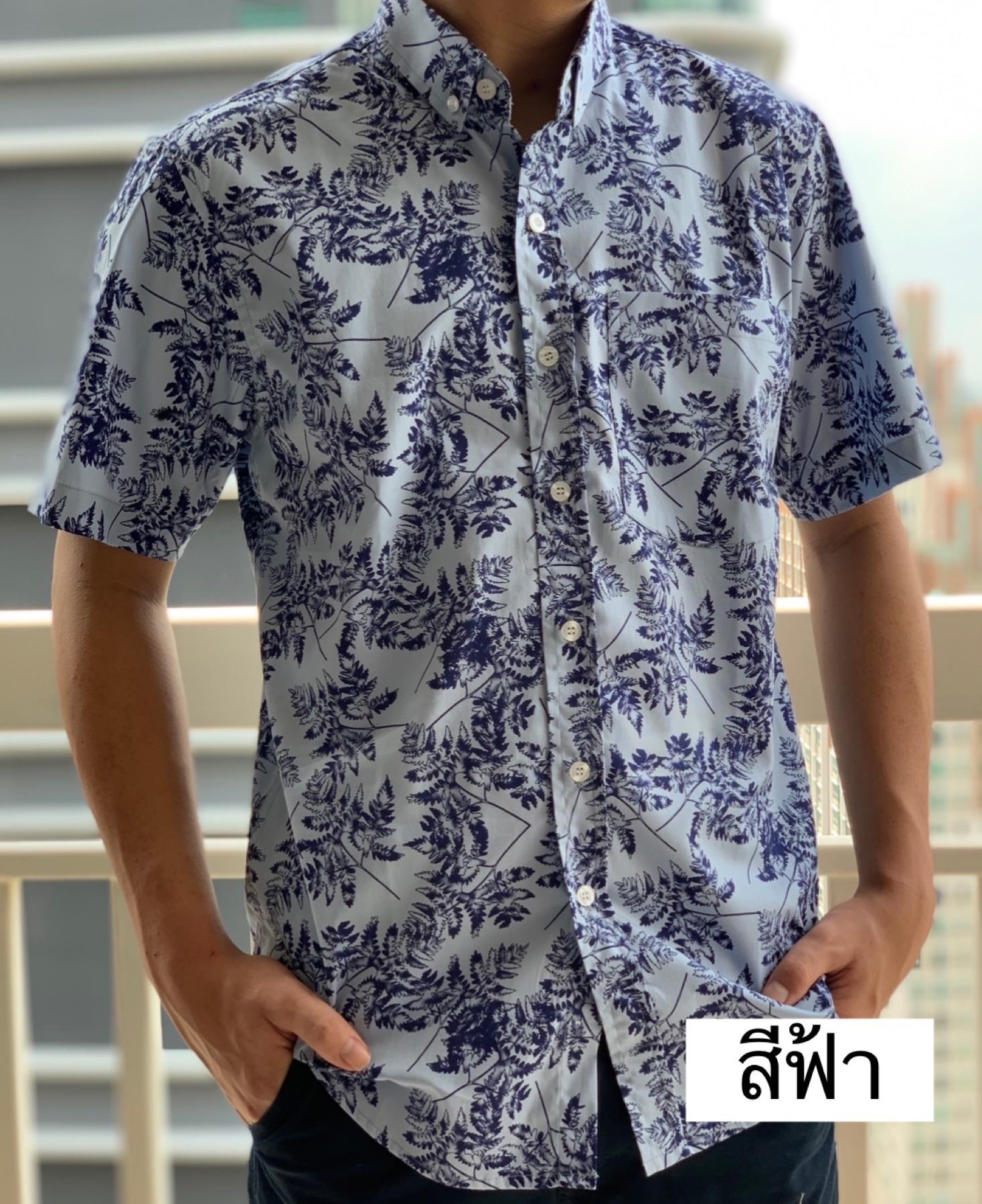 เสื้อเชิ้ตผู้ชาย 2020 แขนสั้น เสื้อคอปกแขนสั้น พิมพ์ลาย ไซส์พิเศษ ไซส์ใหญ่ ถึง ุ60 นิ้วผ้าดี.