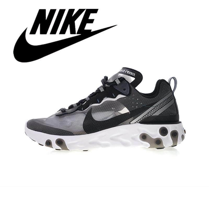 __Nike Secret Elements REACT ELEMENT 87 Men's Mesh Breathable Running Shoes Women's Light Sneakers Light Gray Black AQ1090-001#36-45 new