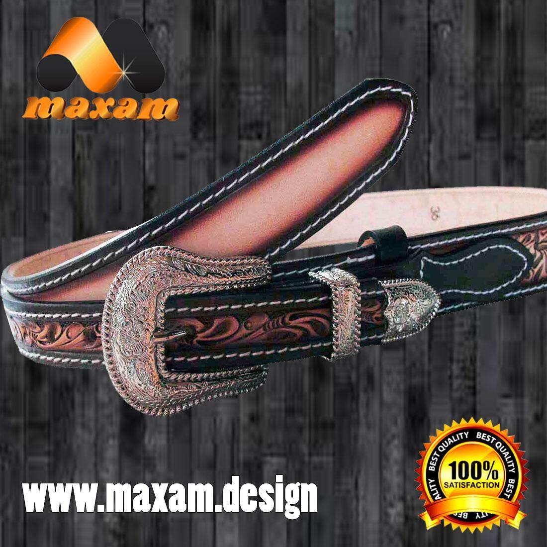 maxam design    เข้มขัดสวยทีสุดในสไตล์คาวบอย สายหนังเป็นลายไม้เลือยตลอดเส้น ของแท้หนังแท้ หัวเข้มขัดและปลายเข้มขัดโดดเด่นด้วยสีเงิน เป็นหัวและปลายสายเป็นนิกเกล    maxam design
