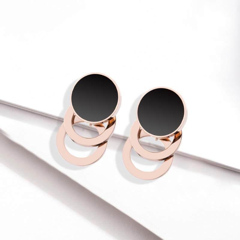 Light Luxury Versatile Multi-Layer Titanium Steel Stud Earrings Rose Gold By Loveshe.