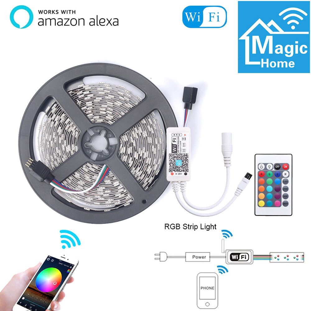 5M Smart Light Strips WIFI Control Color Changing LED 5050 RGB Compatible with Amazon Alexa Sync to Music for Rooms Party Bar Decoration Waterproof US Plug