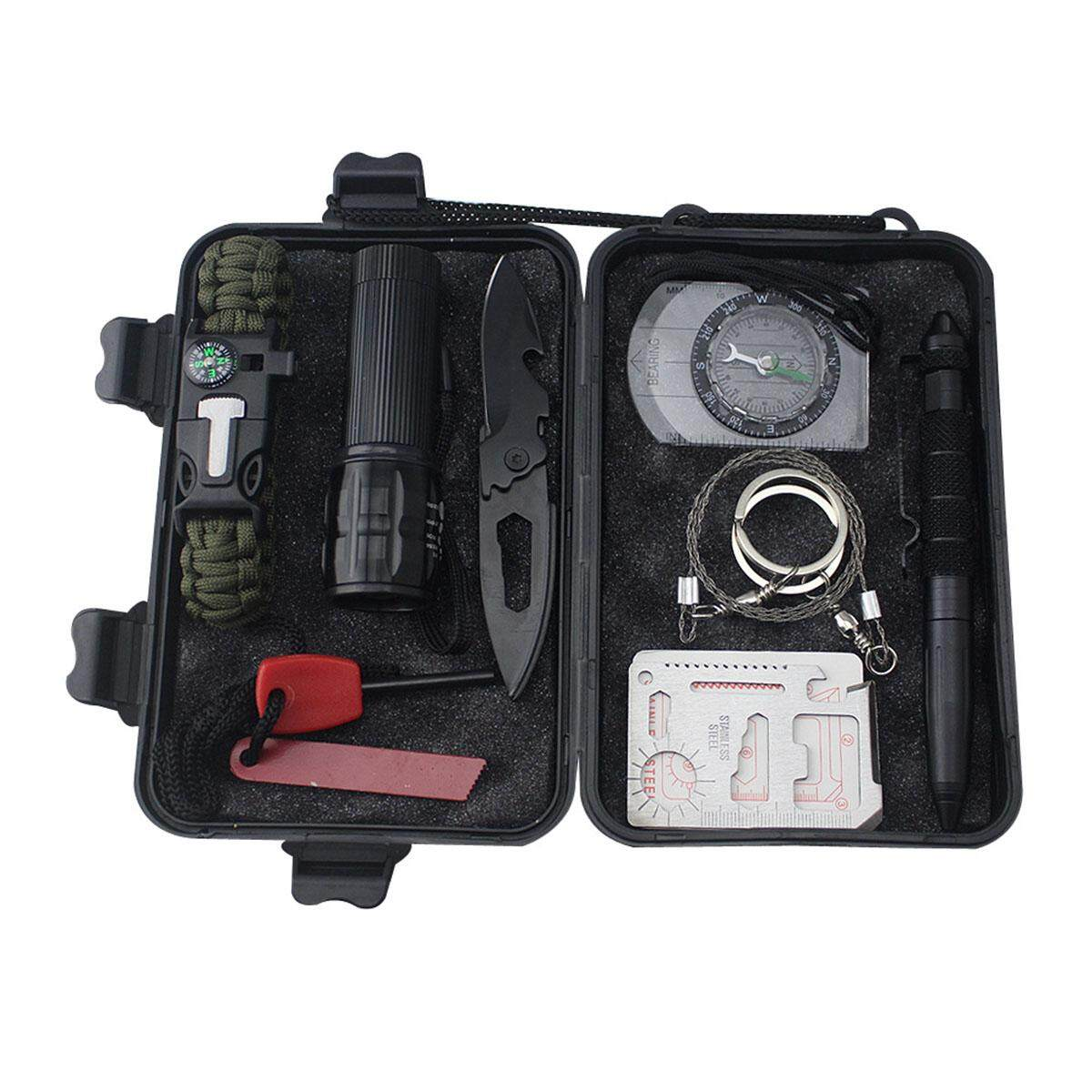 9 In 1 Professional Multifunction First-Aid Emergency Camping Survival Waterproof And Shockproof Equipment Kit Outdoor Hiking Gear Tool Kit By Ertic.