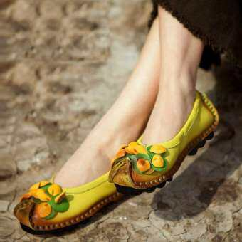 MIMZF รองเท้าหนังแท้พื้นรองเท้าอ่อนปากตื้นรองเท้าพื้นเรียบ Schick รองเท้าคุณแม่ HUADO รองเท้าหัวกลมส้นสูงปานกลางรองเท้า Tods