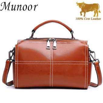 Munoor คุณภาพสูง 100% ของแท้หนังวัวสำหรับผู้หญิงกระเป๋าสะพายไหล่กระเป๋าถือ - INTL-