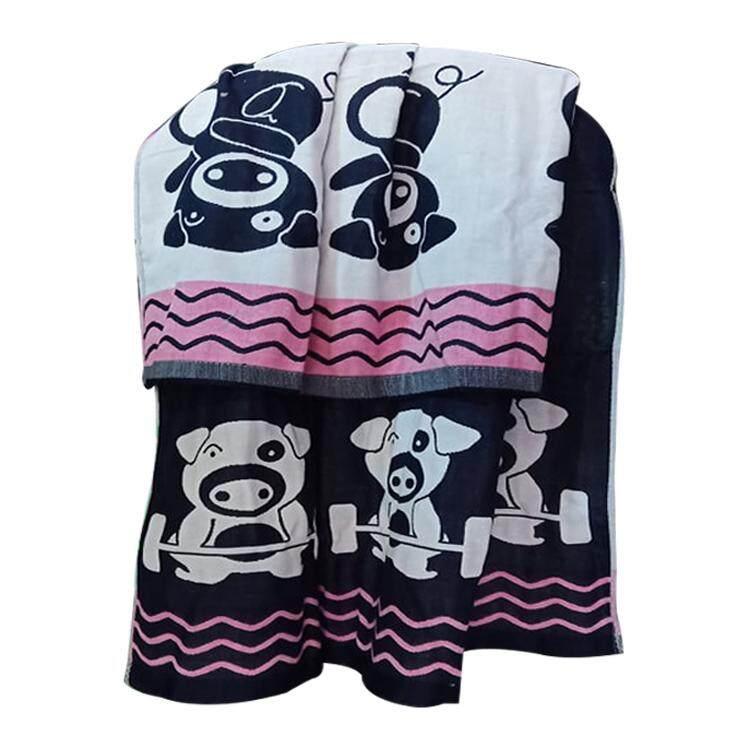 Fd Premium ผ้าเช็ดตัว ผ้าสาลู ผ้าเช็ดตัวญี่ปุ่น ขนาด 140x75 Cm.(ผ้าหนา3 ชั้น ) แบบมีกระเป๋า ลายทอการ์ตูน (คละสี).