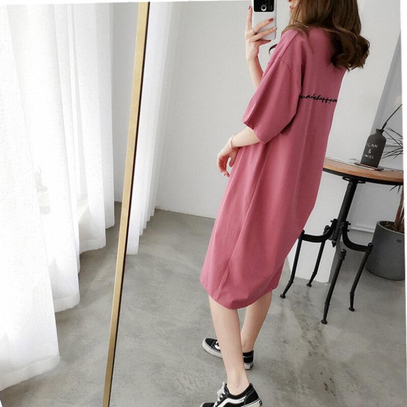 Mùa Hè Phiên Bản Hàn Quốc Dáng Suông Rộng Dáng Dài Ngắn Tay 100% Cô-tông Váy T-Shirt Nữ Big Size 200 Pound Một Màu Qua Đầu Gối Lười Đầm